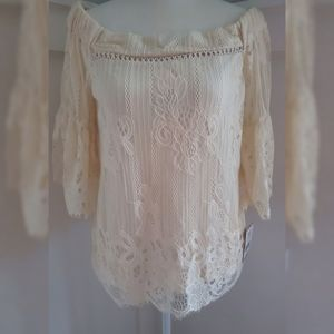 Hint of Mint Size Small Lace Off Shoulder Blouse